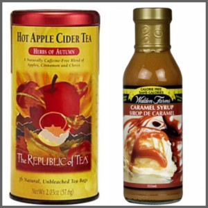 apple cider tea and caramel sauce